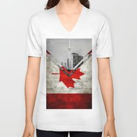 canada V-neck T-shirts featuring Flags - Canada by Ale Ibanez