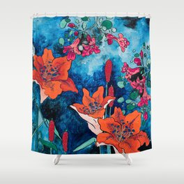 Blooming Night Garden: Twilight Shower Curtain