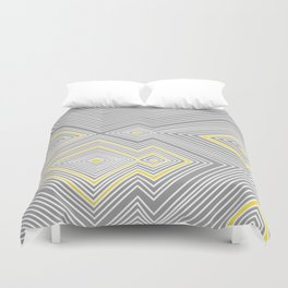 White, Yellow, and Gray Lines - Illusion Duvet Cover