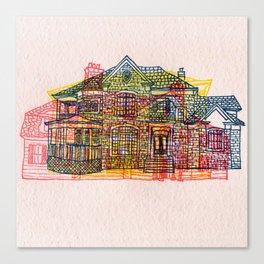 Letterpress Houses 4 Canvas Print