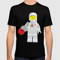 Vintage Lego White Spaceman Minifig MEDIUM Mens Fitted Tee Black