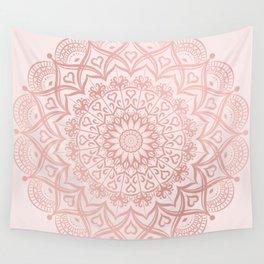 Blush Rose Pink Mandala Wall Tapestry