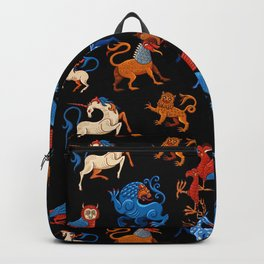 Magic unicorn and gryphon. Medieval fantastic beasts Backpack