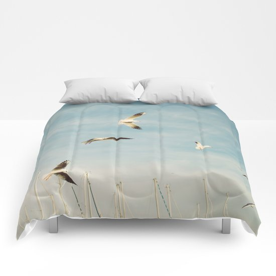 Seagulls Flying In The Sky Comforters