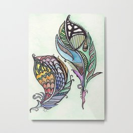 Two Feathers Metal Print