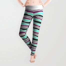 Geometrical mauve violet teal gray forest green stripes Leggings