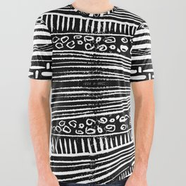 Linocut Tribal Pattern All Over Graphic Tee