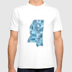 Mississippi Counties Blueprint watercolor map MEDIUM Mens Fitted Tee White