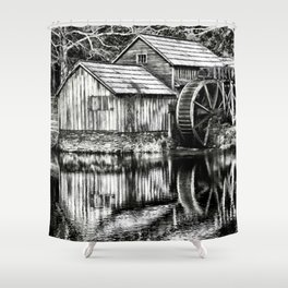 The Old Mill Black and White Shower Curtain
