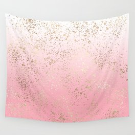 Pink White Ombre Speckled Gold Flakes Wall Tapestry