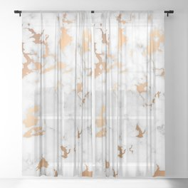 Marble Texture with Gold Splatter 040 Sheer Curtain