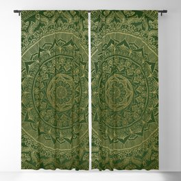 Mandala Royal - Green and Gold Blackout Curtain