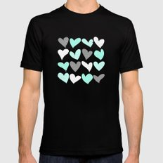 Mint white grey grunge hearts LARGE Black Mens Fitted Tee