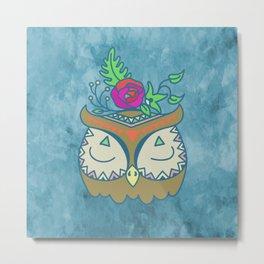 Floral Boho Owl Metal Print