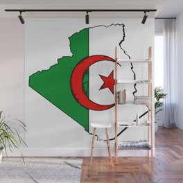 Algeria Map with Algerian Flag Wall Mural