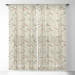 Birds on wire Sheer Curtain