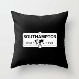 Southampton England GPS Coordinates Map Artwork Throw Pillow