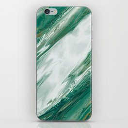 Emerald Jade Green Gold Accented Painted Marble iPhone Skin