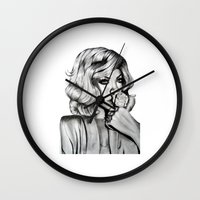 rihanna Wall Clocks featuring Rihanna by Ellie Wilson Designs