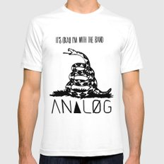 Snake and Band (Analog Zine) White Mens Fitted Tee SMALL