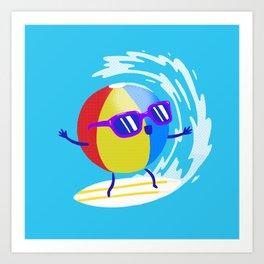 Lets Surf The Ocean Together! Art Print