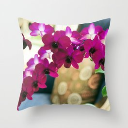 Pink Purple Magenta Orchids In Contemporary Vase Throw Pillow