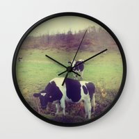 cows Wall Clocks featuring Rustic Cows by Olivia Joy StClaire