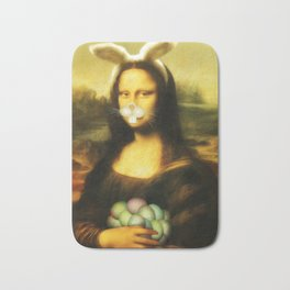 Easter Mona Lisa with Whiskers and Bunny Ears Bath Mat
