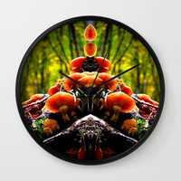 mushrooms Wall Clocks featuring mushrooms by haroulita
