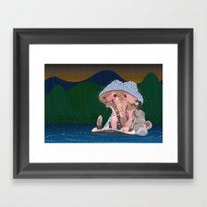 Hippo Rain Framed Art Print