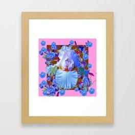 PASTEL IRIS & BLUE MORNING GLORIES PINK PATTERNS Framed Art Print