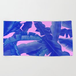 tropical banana leaves pattern,pink,blue Beach Towel