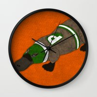 platypus Wall Clocks featuring Platypus by subpatch