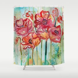 River Poppies Shower Curtain