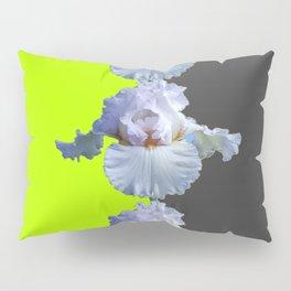 MODERN WHITE IRIS DIVIDED CHARTREUSE & GREY ART Pillow Sham