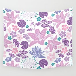 Purple and pink Japanese pond foral Wall Tapestry