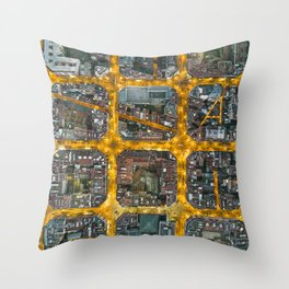 The grid of Barcelona at night Throw Pillow