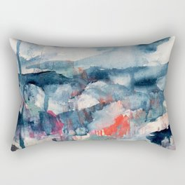 Before the Storm - an abstract acrylic and ink piece in blues, white, pink, and red Rectangular Pillow