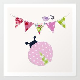 Ladybug with party flags Art Print