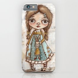 Love Me - Girl and Bunny Doll in the Garden iPhone Case