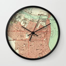 Vintage Map of Corpus Christi Texas (1951) Wall Clock
