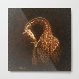 Reticulated Giraffe Mother and Baby Metal Print