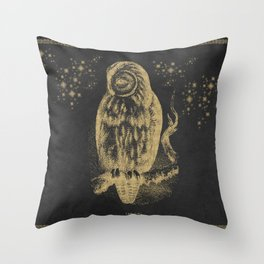 The golden owl Throw Pillow
