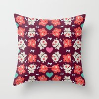 puppies Throw Pillows featuring Puppies by Maria Jose Da Luz
