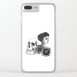 The Girl With A Skull And Flowers Clear iPhone Case