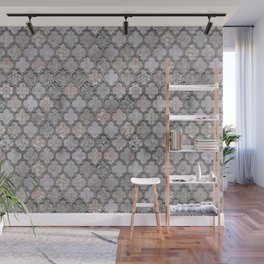 Blush And Grey Moroccan Tiles  Wall Mural