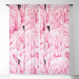 Elegant blush pink flamingo tropical bird pattern Blackout Curtain