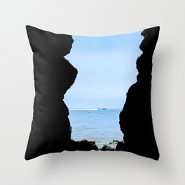 View through the cave Throw Pillow