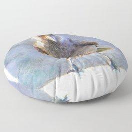 Jackdaw Watercolor Floor Pillow