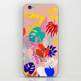 Keep Growing - Tropical plant on peach iPhone Skin